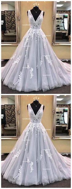 Gray Deep V Neckline Lace A line Long Evening Prom Dresses, Popular Cheap Long Custom Party Prom Dresses, 17332
