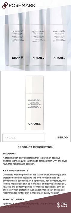 Chanel UV essentiel SPF20 Anti-pollution broad spectrum spf 20. By using the right spf suited for your lifestyle and needs, skin is perfectly and completely protected. CHANEL Makeup