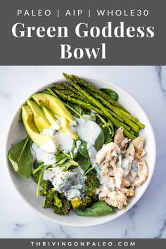 A nutritious bowl jam-packed with veggies, shredded chicken, and a creamy dairy-free sauce. Increase your vegetable intake with delight! Paleo, Whole30, AIP Vegetable Recipes, Meat Recipes, Paleo Recipes, Real Food Recipes, Detox Recipes, Recipies, Dinner Recipes, Dairy Free Sauces, Paleo On The Go
