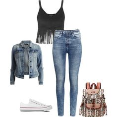 Sin título #59 by imkatherineb on Polyvore featuring moda, Topshop, VILA, H&M, Converse and Sakroots