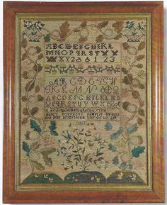 A Fine Needlework Sampler, Nancy Forrest, Canterbury or Northfield, New Hampshire Inscribed Nancy Forrest's Sampler Wrought in the Fourteenth Year of Her Age, 1811. Silk or linen with all over stitching bands of alphabets, curling vines, rose bushes and chain-stitched roundels and embroidery. For similar examples: Betty Ring, Girlhood Embroidery, vol I, 1992, p. 234, fig. 270