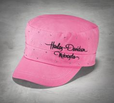 The hot pink cotton, playful embroidery, and bling embellishment are spunky details on this women's flat top cap. | Harley-Davidson Women's #PinkLabel Crystal Flat Top Cap