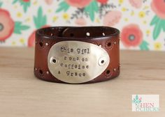 Leather Chick Cuff by HenandChicksToo on Etsy https://www.etsy.com/listing/250232458/leather-chick-cuff