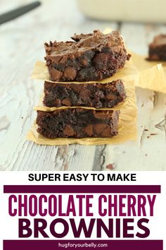 The sweetness of cherries brings a new level of flavor in these chocolate cherry brownies. Cherry and chocolate are a match made in heaven! #easychocolatecherrybrownies #chocolatecherrybrownies #chewybrownies #homemadebrownies Best Dessert Recipes, Easy Desserts, Real Food Recipes, Baking Recipes, Delicious Desserts, Salted Chocolate, Chocolate Cherry, Homemade Brownies, Homemade Cakes
