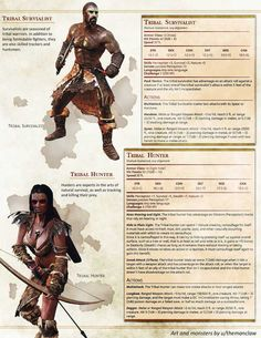 Humanoids Expansion Pack: TRIBESMEN, for various levels Dungeons And Dragons Rules, Dnd Dragons, Dungeons And Dragons Homebrew, Dnd Characters, Fantasy Characters, Fantasy Creatures, Mythical Creatures, Mythological Creatures, Skyrim