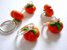 Pumpkin stitch markers set of 5 snagfree by AbsoKnittingLutely, £8.00