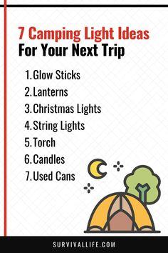 If you're going on a camping trip, one of the most important things to bring is your camping light. While flashlights do just fine, there are other, more creative camping light ideas you can try for your next trip. #campinglight #camping #campingtip #survivaltip #survival #preparedness #survivallife 6 Candles, Camping Lights, Survival Life, Glow Sticks, Camping Hacks, Christmas Lights, Messages, Kit, Mood