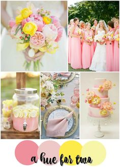 Light Pink and Yellow Summery Wedding Color Scheme - Wedding Colors - Wedding Planning - A Hue For Two | www.ahuefortwo.com