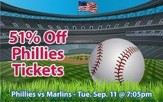 51% off Philadelphia Phillies Tickets vs. Miami Marlins Tue. Sep. 11 @ 7:05pm