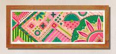 Vivid Pattern Long Illustration colour print | Etsy Different Shades Of Pink, Flower Mandala, Pattern Drawing, Abstract Expressionism, Paper Art, Modern Art, Original Artwork, Framed Prints, Hand Painted