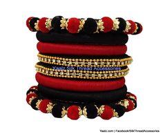 silk thread Bangle Earring Jumka-Yaalz Assorted Bangles in Black & Red Color(s)-YAALZ Silk Thread Bangles Design, Silk Thread Necklace, Silk Bangles, Thread Jewellery, Temple Jewellery, Bangle Set, Bangle Bracelets, Bridal Chura, Gold Silk