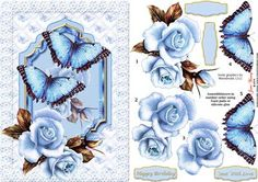 Blue Roses Butterflies on Craftsuprint designed by June Young - A shaped panel with blue roses and large blue butterflies on a background of pale butterflies set in a lace frame. There is decoupage for the roses and butterflies and four greetings panels, two are blank for your own lettering. The butterflies can be really 3D if you curl out the wings. This fits an A5 card front and will be suitable for many different occasions. - Now available for download!