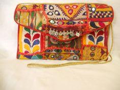 Indian Tribal Banjara Boho fabric clutch Gypsy clutch by ArtMela, $45.75