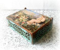 Filigree decoupage box keepsake box trinket by CarmenHandCrafts