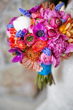 Colorful wedding bouquet.