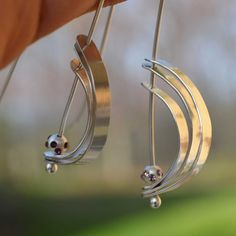 Orbit earrings argentium silver jewelry with by TCMjewelryDesigns, $52.00
