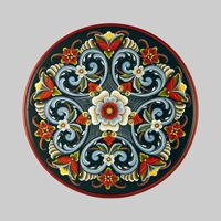 Hand Painted Rogaland Rosemaling and Slavic Design WoodenPlates Traditional Paintings, Traditional Art, Rosemaling Pattern, Norwegian Rosemaling, Bird Houses Painted, Boat Art, Scandinavian Folk Art, Tole Painting, Painting Inspiration