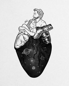 Digital designer and illustrator Muhammed Salah. Muhammed Salah is a 27 years old artist, illustrator, art director, digital designer and graphic designer. Art And Illustration, Love Heart Illustration, Love Drawings, Art Drawings Sketches, Tattoo Casal, Muhammed Salah, Art Watercolor, Anatomy Art, Heart Anatomy Drawing