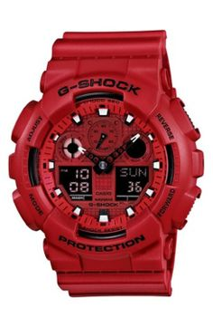 ca8635cbb3f G-Shock digital chronograph watch is as tough as it looks with a fire  engine red color. This all red G-Shock watch has a matte resin case and  band with an ...