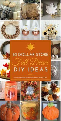50 Dollar Store Fall Decor DIY Ideas #Fall #FallDecor #HomeDecor #DollarStore #DIY #DollarTree Dollar Tree Fall, Dollar Tree Crafts, Dollar Tree Finds, Dollar Tree Pumpkins, Decor Crafts, Diy And Crafts, Party Crafts, Adult Crafts, Diy Crafts On A Budget