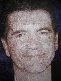 #Celebrity #portraits with hole-punch dots: 189,000 dots were used to for Simon Cowell