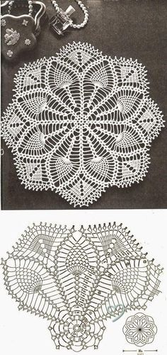 Resultado de imagen para crochet doily in pineapple pattern Filet Crochet, Crochet Doily Diagram, Crochet Doily Patterns, Crochet Chart, Thread Crochet, Crochet Motif, Crochet Designs, Crochet Stitches, Crochet Coaster