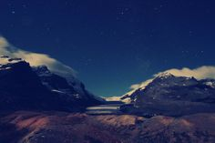 Athabasca Glacier at night Jasper National Park  #landscape #athabasca #glacier #night #jasper #national #park #photography