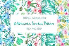Tropical Floral Seamless Patterns by LarysaZabrotskaya on @creativemarket