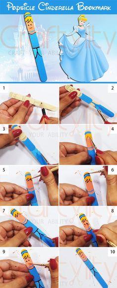 Popsicle Disney Cinderella Princess Bookmarks