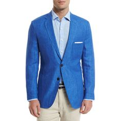 Peter Millar Two-Button Linen Soft Coat (535 CAD) ❤ liked on Polyvore featuring men's fashion, men's clothing, men's outerwear, men's coats, blue, mens blue trench coat and mens linen sport coat