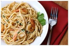 Shrimp & Pasta in Tomato-Chile Cream Sauce .... Looks SO yummy!