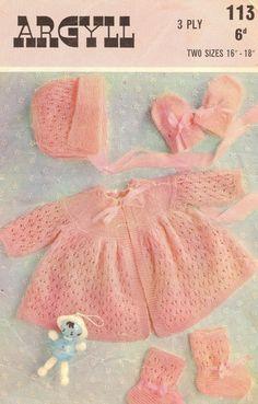 Argyll 113 baby matinee coat set vintage knitting by Ellisadine