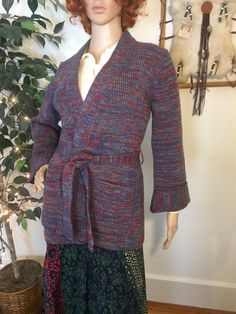 1d9d5c9700ae70 Vintage 1970s 70s Acrylic Belted Wrap Cardigan Multicolor Bohemian Boho  Angel Sleeves Shawl Collar Knit Knitwear