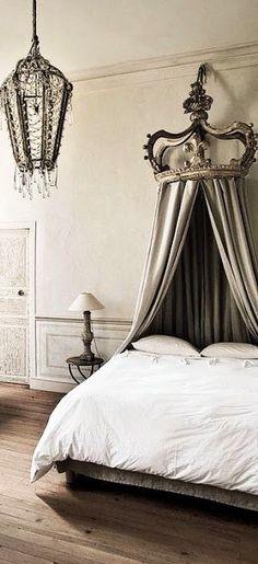 Bed crown is amazing! Dream Bedroom, Home Bedroom, Bedroom Decor, Bed Crown Canopy, French Decor, Luxurious Bedrooms, Beautiful Bedrooms, Luxury Bedding, Boudoir