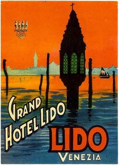 ITALY - VENICE - Grand Hotel Lido Vintage luggage label