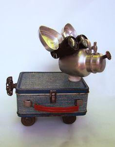 Scraps  found object sculpture dog mutt beggar von BillsRetroRobots