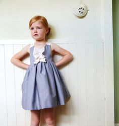 What a sweet dress! Grey Occasion Flower Girl Dress With Blush Chiffon 1-6T. $95.00, via Etsy.