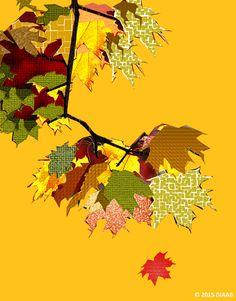 """""""Die Blätter der Bäume sind grün,  aber im Herbst färben sie sich gelb … und manchmal rot."""" ~ Temu Diaab aus dem Kinderbuch 'Bunt, gleich und anders ... wie Du und ich' - ISBN Nr. 978-3-7386-0260-9 Illustration: Elisabeth Diaab www.diaab.de"""