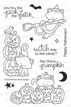 Newton's Boo-tiful Night | 4x6 Photopolymer Stamp Set | Newton's Nook Designs