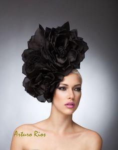 Couture Black Silk roses headpiece with veil, Black Fascinator, Cocktail Hat, Avant garde Hat, Derby hats Black Fascinator, Black Headband, Rose Vintage, Satin Roses, Silk Satin, Church Hats, Fancy Hats, Derby Hats, Bandeau