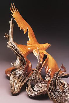 """J. Christopher White - Beyond the Storm, 1995, West Texas juniper - wing span 31"""",   Wood Carving"""