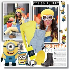 Despicable Me DIY Halloween Costume by sarah-crotty on Polyvore featuring Planet, Influence, Freebird, Tak Ori and DIYHalloween