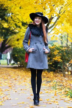 c20d701ae1f Fashion Blogger Fall Outfit Grey A-line Coat