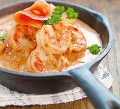 langoustines à la crème et saumon fumé