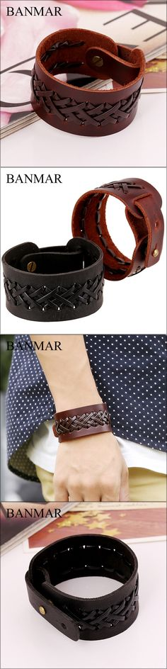 BANMAR Retro Braided Vintage Genuine Leather Bracelets Brown Black Punk Wide Cuff Bracelets & Bangles for Women Men Jewelry