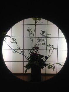 Gorgeous ikebana arrangement of the iris flowers displayed at a Japanese restaurant in the Showa Forest Kurumaya, Akishima City, Tokyo
