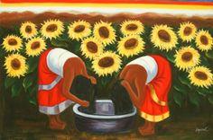 Me gusta mucho!!!!!    Diego Rivera Sunflowers | ... Art Latin Women Sunflowers Field Diego Rivera Repro 24X36 Oil Painting