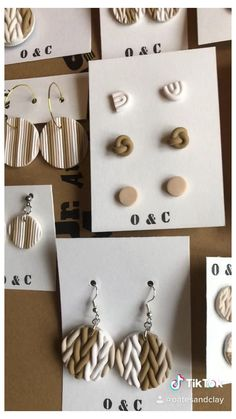 Fimo Clay, Polymer Clay Projects, Polymer Clay Creations, Handmade Polymer Clay, Polymer Clay Jewelry, Polymer Clay Tutorials, Diy Clay Earrings, Earrings Handmade, Clay Design