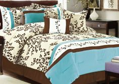 Romantic, floral blue and brown comforter set.