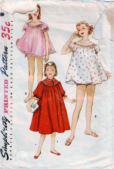 Girl's Waltz Length Nightgown and Baby Doll Pajamas with Panties. Baby Nightgown, Nightgown Pattern, Vintage Nightgown, Childrens Sewing Patterns, Simplicity Sewing Patterns, Clothing Patterns, Baby Doll Pajamas, Vintage Outfits, Vintage Fashion